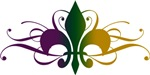 Purple Green Yellow Swirl Fleur De Lis T-shirts