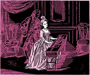 Pink Lady Playing Harpsichord