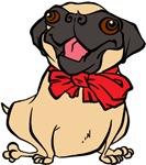 Pug with a bow