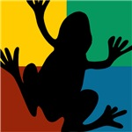 Colorful Frog Silhouette
