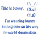 Wearing bunny to help him