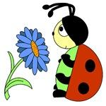 Ladybug's Blue Flower