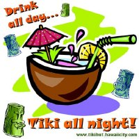 Drink All Day, Tiki All Night | REtro Tiki Hut T-shirts & Gifts
