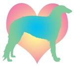 borzoi rainbow heart