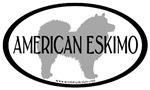 American Eskimo Dog Breed Oval Stickers