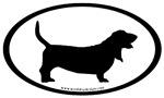 Basset Hound Oval Bumper Stickers