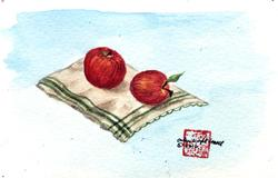 Two Apples on a Napkin