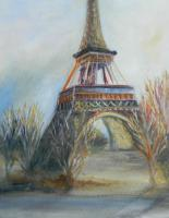 Eiffel Tower in Blues and oranges