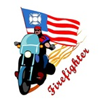 Firefighter Biker Proud USA Gifts &amp; T-Shirts!