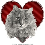 Long-Haired Gray Cat Valentine
