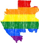 Gabon Rainbow Pride Flag And Map