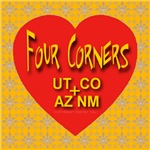 Four Corners Golden Snowflake Heart