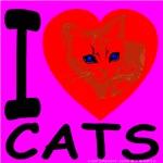 I Love Cats Cyan