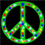 Peace Symbol Green Ivy Stars