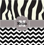 Zebra stripes chevron monogram