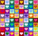 Rainbow Heart Squares Pattern