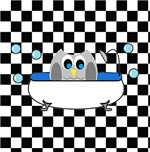 Owl In Tub (Black Checkered)