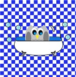 Owl In Tub (Blue Checks)