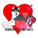 Black Siberian Husky Hearts