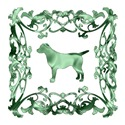 Labrador Retriever Green Ornamental Lattice