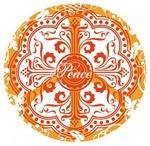 Orange Funky Peace Sign