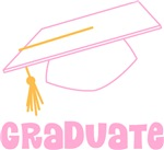Pink and White Graduate Cap Dark Apparel