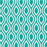 Ogee Teal White Retro Pattern Gifts