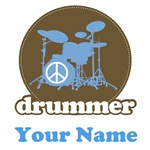 Personalized Blue Drummer Music T-shirts and Gifts