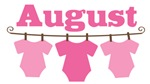 Cute August Pink Baby Clothes Announcemen