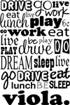 VIOLA Eat Sleep Work Play Music T-shirts
