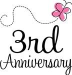 3rd Anniversary Pink Butterfly Keepsake Gifts