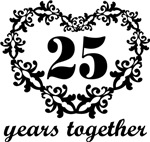 25th Anniversary Heart Gifts Together