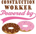 Construction Worker Powered By Donuts Gift Tees