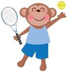 Tennis Monkey Kids Tee Shirts