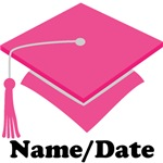 Personalized Pink Grad Hat Graduation Apparel