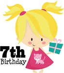 7th Birthday Girl Kids Tees