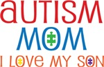 Autism Mom I Love My Son Mugs and T-shirts