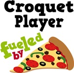 CROQUET PLAYER Funny Fueled By Pizza Tshirts