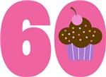60th BIRTHDAY Cupcake T-SHIRT GIFTS