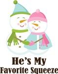 Snowmen Couple Womens Favorite Squeeze Tees