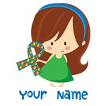 Personalized Autism Girl Puzzle Ribbon
