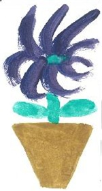 Indigo Flower and Pot