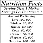 Nutrition Facts, the panel for Mothers!