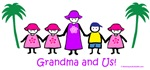 Grandma, 1boy, 3girls