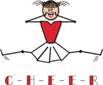 Red White Cheerleader Stick Figure T-shirts Gifts