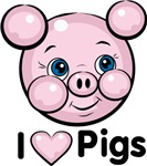 I Love Pink Heart Pigs Cute T-shirts & Gifts