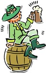 Leprechaun on Beer Keg T-shirts & Gifts
