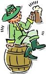 Leprechaun on Beer Keg T-shirts & Gifts