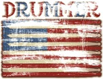 Distressed Retro Drummer Flag T-shirts & Gifts