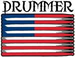 Drummer USA Flag Drumsticks T-shirts & Gifts